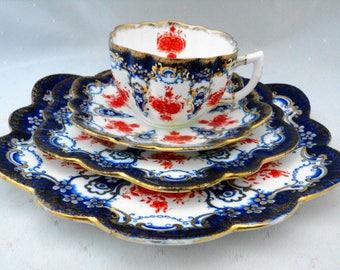 Paragon Aynsley wileman antique tea cup and saucer cake trio Shelley cobalt imari
