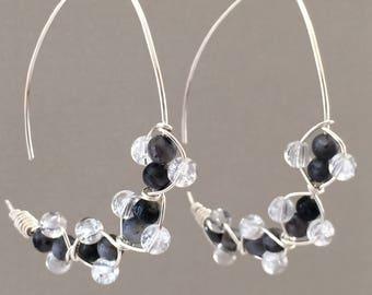 Labradorite and Quartz Earrings, Half Hoop Threader Style Earrings
