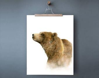 Watercolor bear print, bear watercolor painting, bear art print, woodland animal print, brown bear wall decor, grizzly bear print, 11x14