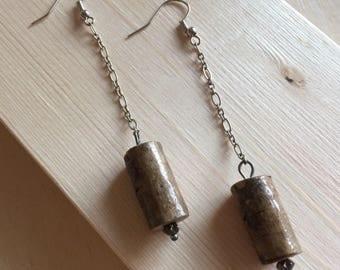 Salvaged wood dangle earrings