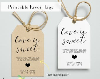 Printable sweets favor tags, Love is sweet, printable candy favor tag, wedding bonbon favor tags, confectionery gift tag, wedding favor tags