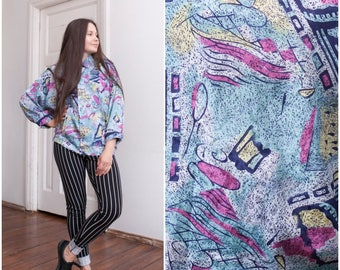 80s Oversize Blouse Baggy Abstract Shirt Womens Large Colorful Pin Tuck Blouse Navy Blue Pink Yellow Pastel Boxy Top Colourful 80s Shirt L