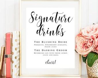 Signature drink sign printable Editable template Wedding template Signature cocktail sign Wedding drink menu template Menu board sign #vm21