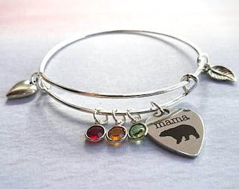Mama bear Birthstone Bracelet, Christmas gift for mom from daughter, stocking stuffer for woman, personalized gift for mom, for mother, wife