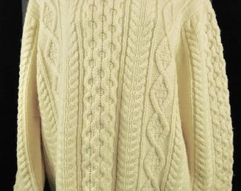 Vintage Coxmoore of England Wool Cable Knit Crew Neck Sweater Cardigan Large L Mens Ivory Cream Ski Winter Clothing