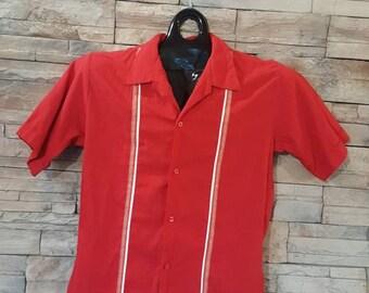50s-60s shirt/rockabilly shirt/size small retro shirt/bowling shirt/Men's retro fashion /rock and roll shirt