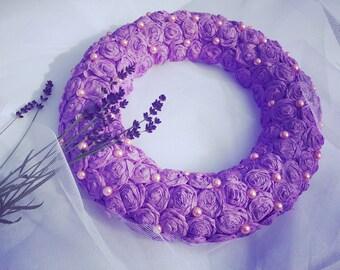 Purple Crepe Paper Wreath/ Rustic Accessories/ Wedding Wreath/ Hanging Wreath/ Home decor/ FLOWER Wreath/ Home Design/ Crepe Paper Wreath/