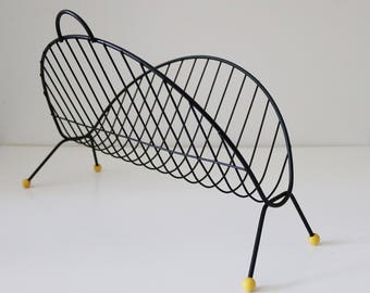 Atomic metal wire record rack magazine rack with yellow bobbles