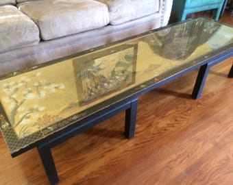 Stunning Vintage HAND PAINTED ASIAN six foot long coffee table with beveled inlaid glass top
