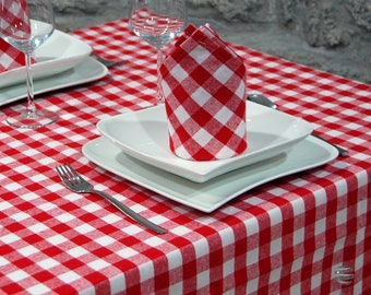 Pizzeria Chess Tablecloth – Rectangle - 100% Cotton - Red and White Squares