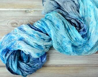 Blue silk scarf - purple white marina colors 35x70in