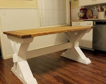 Farmhouse Trestle/X Style kitchen, Dining Room Table Bench sold Seperately