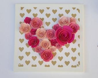 Frame Paper Flower Heart Shape
