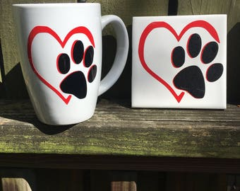 Dog mug coaster set