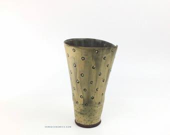 Handmade ceramic yellow Vase-Tumbler - Ceramic Tumbler - yellow handcrafted Vase