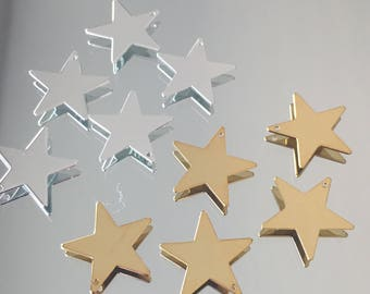 Star Charms - 17x17mm Shiny Stars -  Choice of Silver Plated or Gold Plated Brass Charms - Package of 5 Charms (#719)