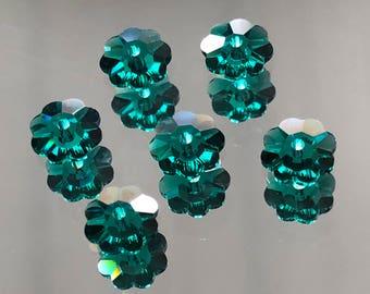 Swarovski Crystals - 6/8/10mm Marguerite Lochrose Flowers - Emerald - Packages of 6 & 12 (#686)
