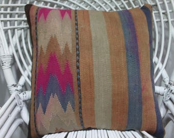 18x18 kilim pillow 18x18 kilim cushion cover geometric Turkish kilim pillow throw pillow ethnic pillow kilim pillowcase 1894