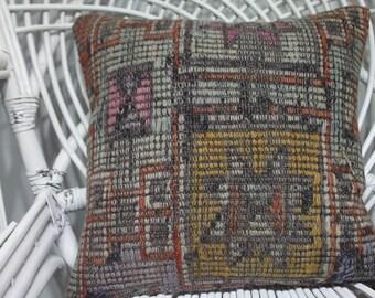 16x16 pillow cover embroidery pillow cushion cover kilim pillows home decor Turkish kilim pillow floor cushion striped kilim pillow 3830