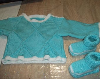 handmade sweater style sailor baby booties - 0/3 month baby