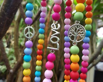 Rainbow Charm Necklaces - Peace, Love, Tree of Life - Perfect gift!