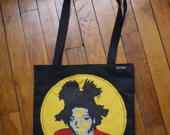 tote bag / purse with hand made stencil