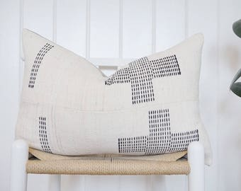 14X24 White Mud Cloth Pillow Cover Hausa Vintage
