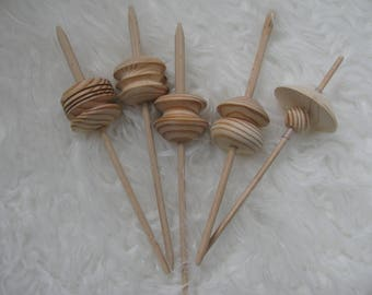 spindle for spinning yarn entirely wooden handmade