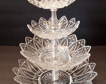Federal Glass Petal Clear Pattern 4 Tier Tidbit Tray
