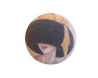 1 button x 28mm woman with yellow bow BOUT13 Hat fabric