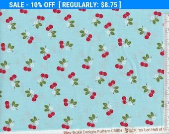 SALE! Sew Cherry 2 - Per Yd - Riley Blake - by Lori Holt - Cherries on Blue