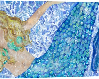 "Merry Mermaid on gallery wrapped canvas, 24 x 48"", FREE Shipping!"