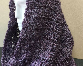 Purple Hooded Cowl, Purple Crochet Scarf, Hooded Cowl, Lavender Cowl Scarf, Purple Cowl Scarf, Crocheted Scarf, Circle Scarf, Gifts for Her