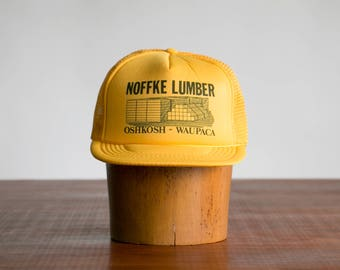 Rare Vintage Noffke Lumber Trucker Cap Hat // Yellow, Black, 1970's // Woodworking, Hipster, Rocker, Indie