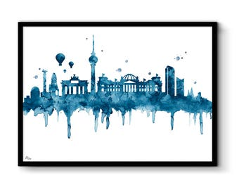 Illustration, city art, original design Germany Berlin Stéphanie Joy Design city of Germany, wedding gift