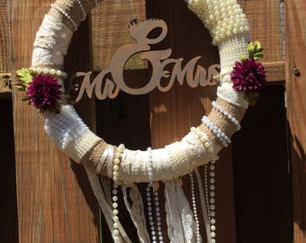 Wedding Wreath / Wedding Gift / Dream Catcher Wreath / Mr and Mrs / Lace / Pearls / Floral