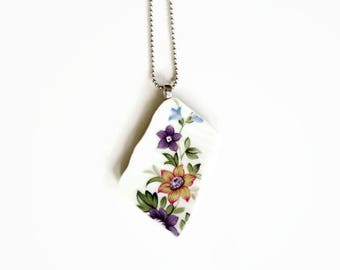 handmade jewelry, floral necklace, broken china jewelry, sustainable jewelry, colorful necklace, porcelain jewelry