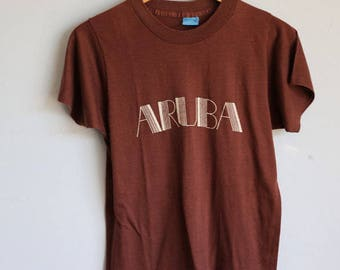 Vintage 80s Soft Brown Aruba T Small / Medium Screen Stars