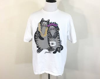 80's vintage crazy shirt all cotton hawaii cat print t-shirt made in usa size XL