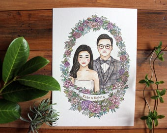 Custom couple's illustration in watercolour, Wedding anniversary gift, A4  custom painting, Best friend's gift,Gift for her,  Couple's gift.