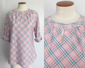 40% off SALE 1970s pastel pink plaid peasant blouse by Levi's / 70s peasant top / spring blouse / easter blouse / medium M