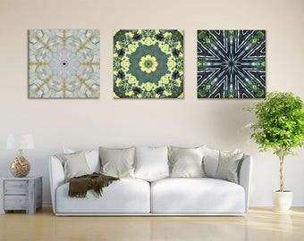 Set of 3 Mandalas ~ Canvas Prints ~ Modern Art for Living Room ~ Mandala Wall Art ~ Sacred Geometry ~ Nature Photography ~ Feng Shui Decor