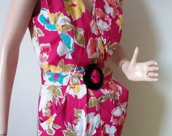 Vintage 80's Does 40's Summer Dress Day Dress Day Wear Cotton Fuscia Aqua Yellow White Salmon Olive Green Black