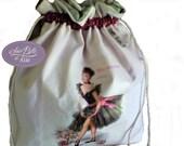 Pochon sac à lingerie en coton blanc et coton imptimé rose vert pour femme