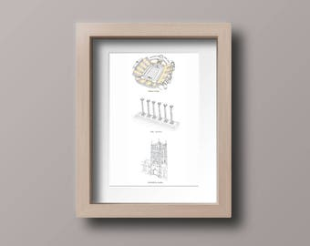 University of Missouri - Columbia, Missouri Tigers - MIZZOU - Faurot Field - Columns - Memorial Union - Stipple Drawing - Gallery Wall