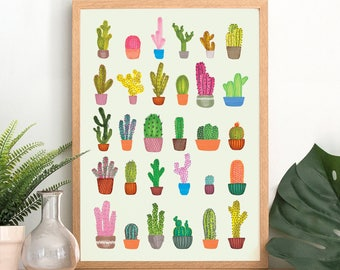 Tropical Cactus Print - A3, A4 Art Print - Tropical Style - Botanical Cacti Wall Art - Individual Cacti Illustration - Home Decor Art Poster