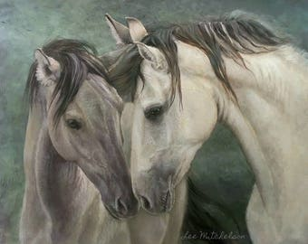Horse Painting, Western Art, Horse Oil Painting, Horse Art, Kiger horses, Iberian horses