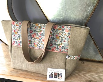 Tote bag in natural linen and Liberty of London Betsy porcelain