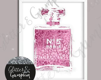 Fashion Perfume Faux Foil effect leopard pink print bottle