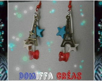 Earrings red white blue proud Eiffel Tower French